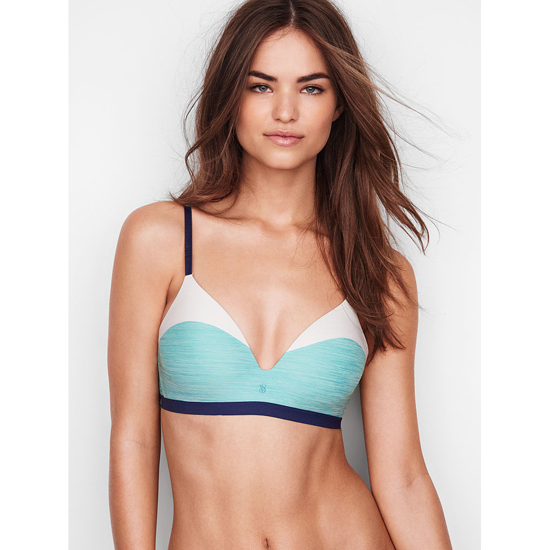 VICTORIA'S SECRET NEW! Wireless Bra Cozumel Teal Colorblock On Sale