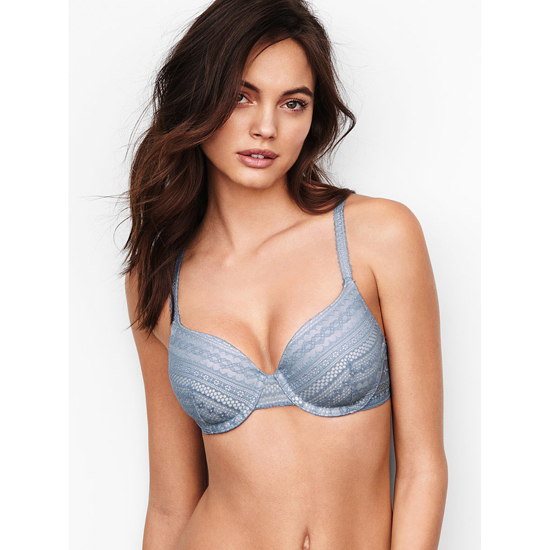 VICTORIA'S SECRET Perfect Coverage Bra Faded Denim Lace On Sale
