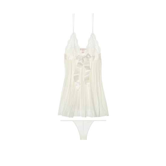 VICTORIA'S SECRET NEW! Pleated Babydoll Ivory On Sale
