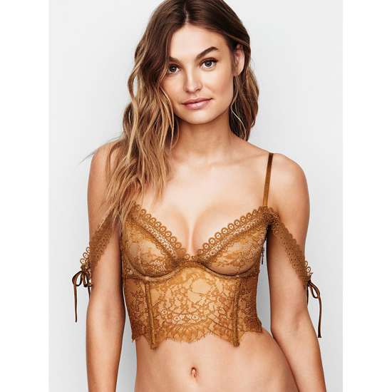 VICTORIA'S SECRET NEW! Lace Off-the-Shoulder Bustier Bronze Brown On Sale