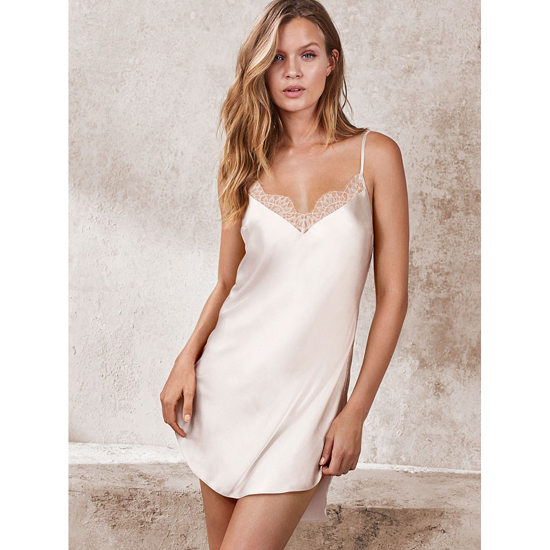 VICTORIA'S SECRET NEW! Lace-trim Satin Slip Coconut White On Sale