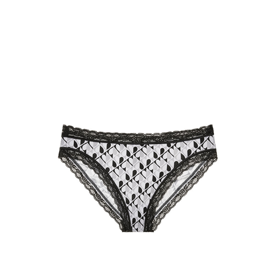 VICTORIA'S SECRET NEW! Lace-trim High-leg Brief Panty Black And White Heart Print On Sale