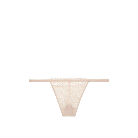 VICTORIA\'S SECRET NEW! Crochet trim and lace V-string panty Champagne On Sale