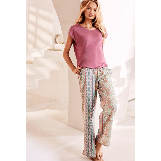 VICTORIA'S SECRET NEW! The Mayfair Tee-jama Rosy Mauve/Pink Paisley Stripe On Sale
