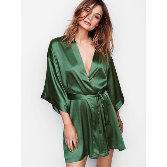 VICTORIA'S SECRET NEW! Satin Kimono Cadette Green On Sale