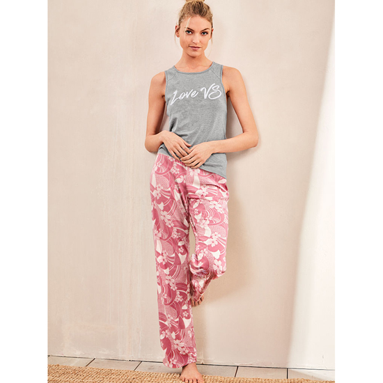 VICTORIA'S SECRET NEW! The Pillowtalk Tank Pajama Medium Heather Grey/Rosy Mauve Floral On Sale