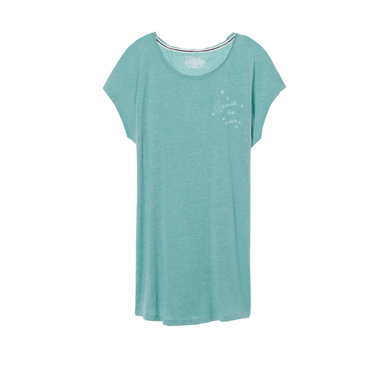 VICTORIA'S SECRET NEW! Angel Sleep Tee Cozumel Teal/Count The Stars Graphic On Sale